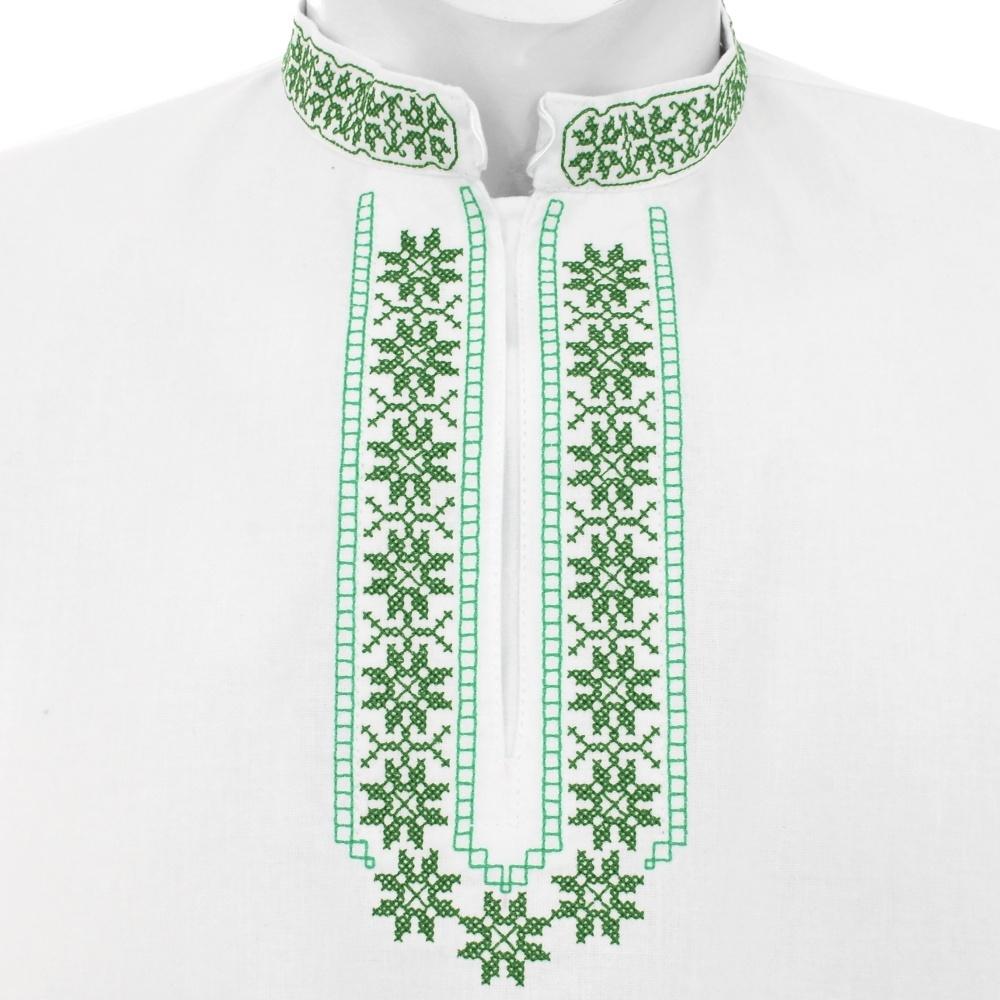 213fb156c ... bledomodrá Vyšívaná krojová košeľa KRIŠTOF - farebná kombinácia  výšivky: zelená, tmavozelená